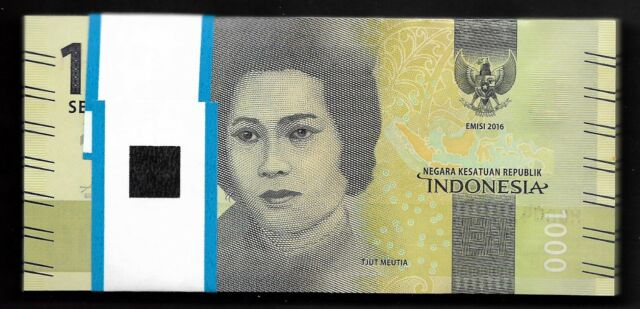 Original Indonesia 1000 Rupiah P-NEW UNC/>New Design 2016//2017 Banknotes