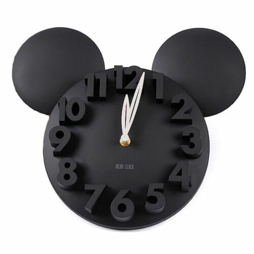 Modern Design Home Decor Decoration Mickey Mouse Big Digit 3D Wall Clock-Black