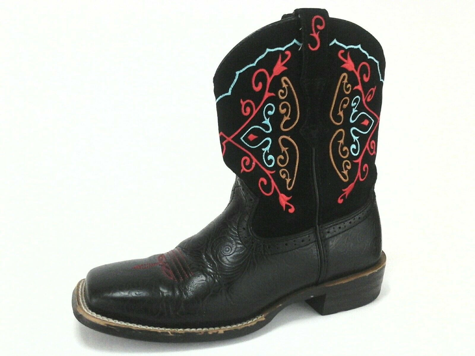 ARIAT Western Boots Fatbaby Cowboy Black Leather Embroidered Floral Womens 8/39