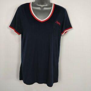 Haut-Femme-Superdry-NYC-Bleu-Marine-Poche-Tee-T-Shirt-Top-M-Medium