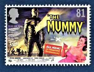 034-The-Mummy-034-Peter-Cushing-Christopher-Lee-Movie-Poster-on-a-2008-Stamp-U-M