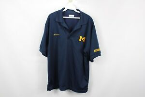Columbia-PFG-Mens-Medium-Michigan-Wolverines-Short-Sleeve-Fishing-Polo-Shirt