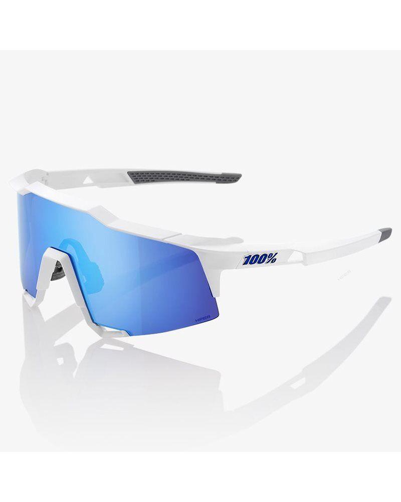 100% Glasses Speedcraft Matte White - HiPER Iceberg bluee Mirror + Lens Clear