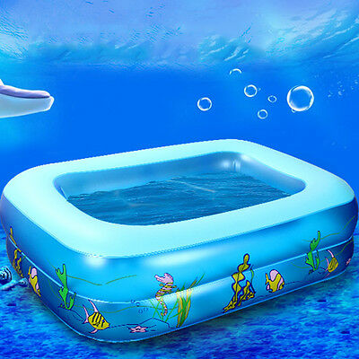 Baby's Cartoon Underwater World Pattern Printed Inflatable Square Swimming Pool