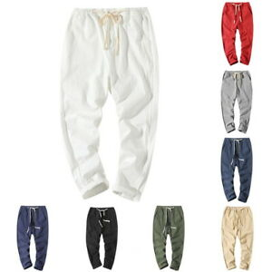 New-Summer-Men-Fashion-Slim-Fit-Cotton-Linen-Trousers-Drawstring-Casual-Pant-LO