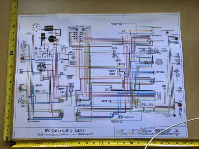 1971 Chevy Truck Color Wiring Diagram XL | eBay