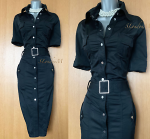 Karen-Millen-UK-12-Black-Military-Safari-Trench-Shirt-Style-Weekend-Pencil-Dress