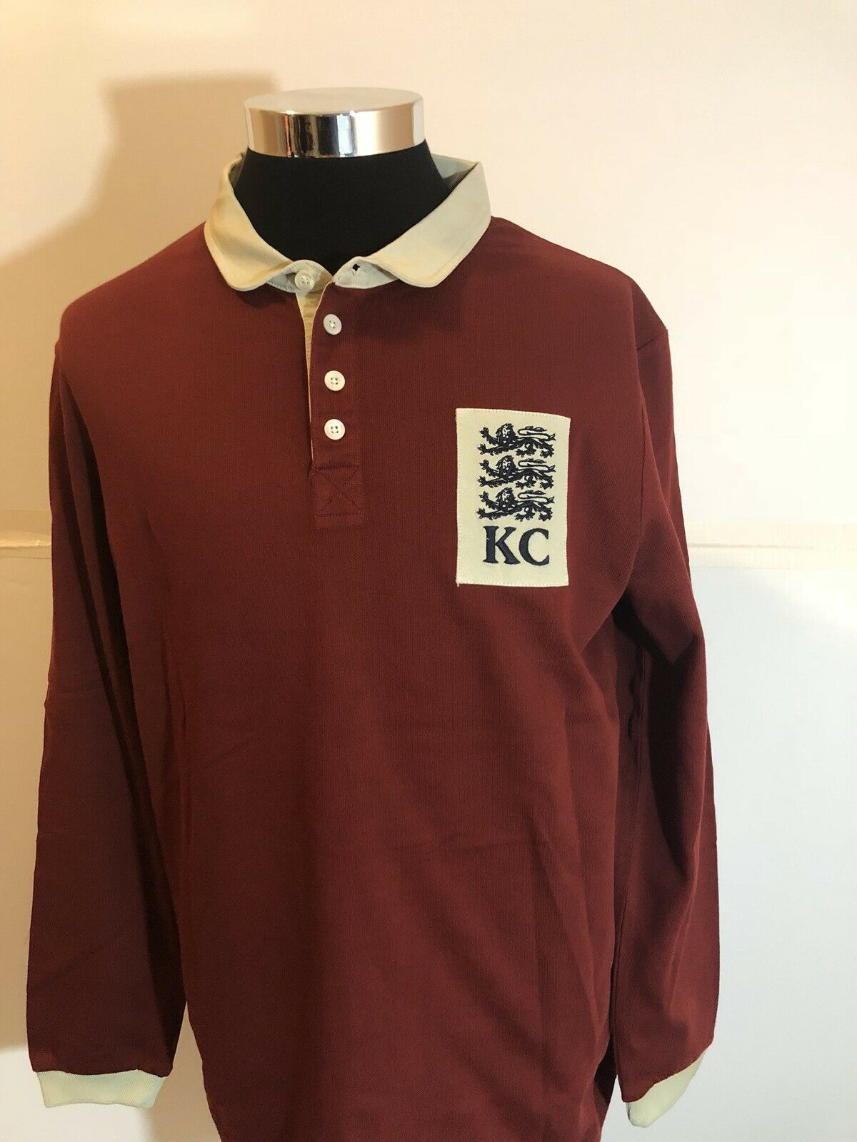 a04eae0a6 Kent   Curwen England Men Long Sleeve Polo Rugby Shirt XLarge Red White N2  c9c388