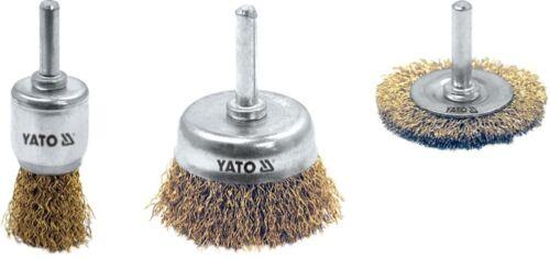 YATO Drahtbürsten Set Scheibenbürste Topfbürste Stiehlbürste für Bohrmaschine