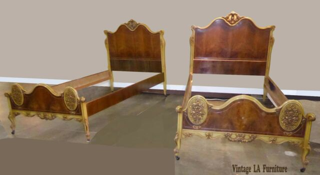 Pair Vintage Italian French Rococo Twin Size Bed Frames Headboards & Footboards