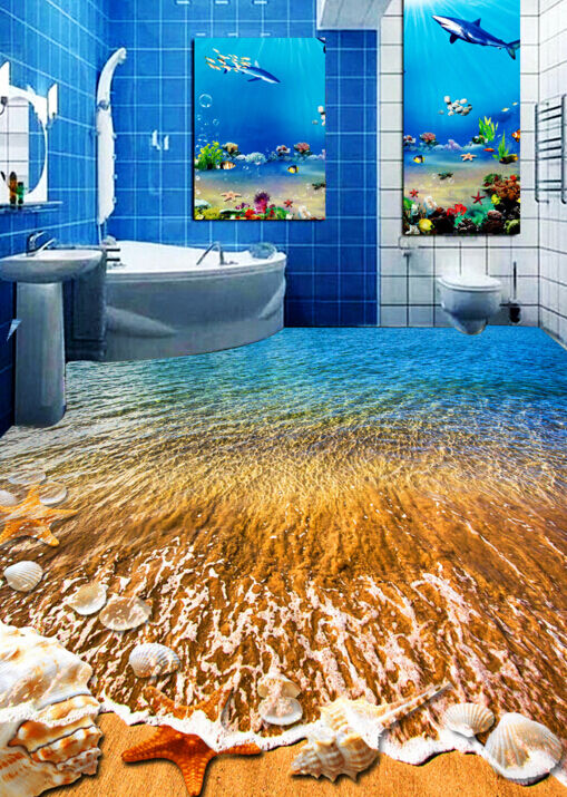 3D Sable Doré Fond d'écran étage Peint Murale en Autocollant Murale Peint Plafond Chambre Art 7582f9