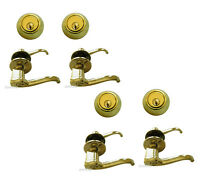 Multiple Sets Of Entry Door Locks Polished Brass All Keyed Alike (1/2/3/4 Sets)
