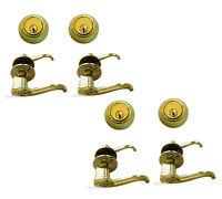 Multiple Sets Of Entry Door Locks Polished Brass All Keyed Alike (1/2/3/4 Sets)