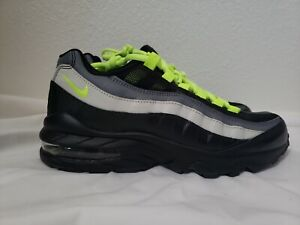 Details about Nike Air Max 95 GS Black Neon Volt Sneakers size 5.5Y