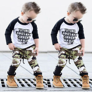 69419bf78 Toddler Kids Baby Boy Camo Outfits Clothes T-shirt Tops+Pants ...
