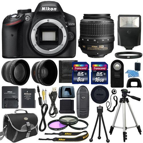 Nikon D3200 Digital SLR Camera + 3 Lens: 18-55mm VR II NIKKOR Lens + 24GB Bundle