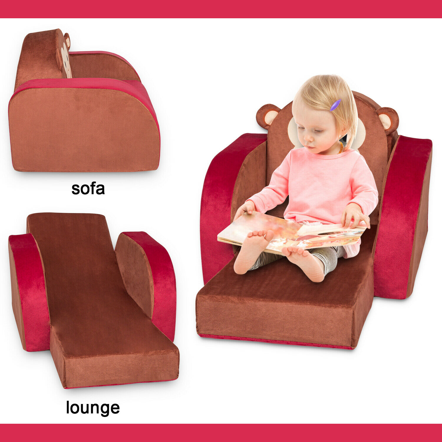 - Kids Sofa Couch Furniture Toddler Flip Children Fold Out Folding