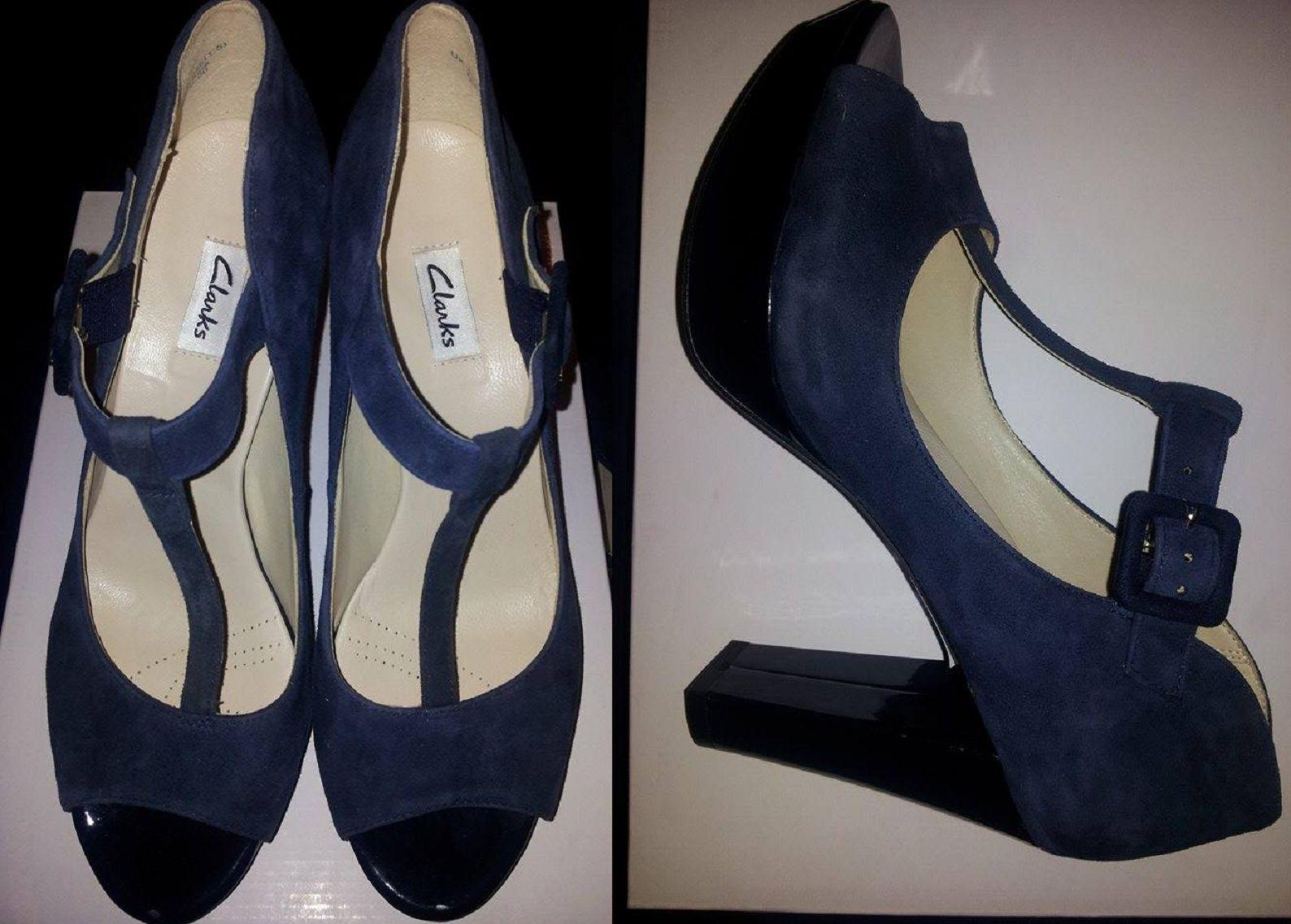 Clarks Sangria Moon Navy Suede shoes UK6D.