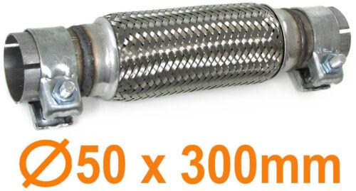 Auspuff Flexrohr Krümmer Hosenrohr universal 50 x 300 mm  Set mit 2 Schellen