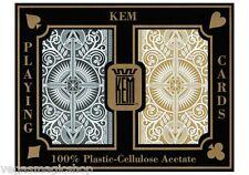 KEM Arrow Plastic Playing Cards 2 Deck Set Black Gold Narrow Bridge Size + Case