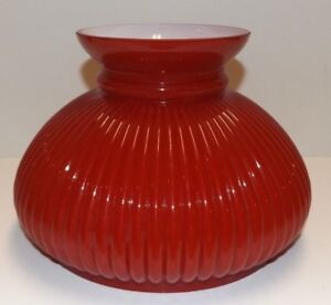 7-034-Cased-Red-Ribbed-Plain-Top-Glass-Student-Shade-Oil-Table-Lamp-New-648JB