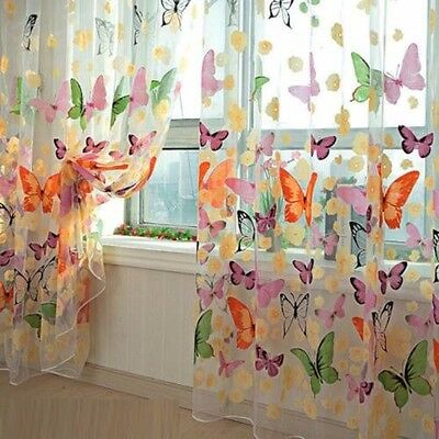 Colorful Butterfly Print Sheer Curtain Panel Window Balcony Tulle Room Divider