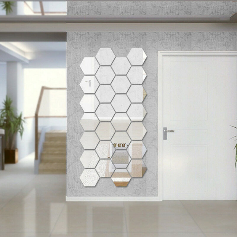 Home Decoration - 12Pcs Mirror Hexagon Removable Acrylic Wall Stickers Art DIY Home Decor Sple M3