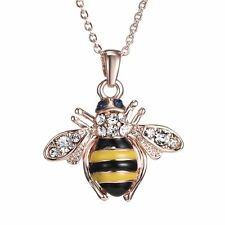 Fashion Women Rose Gold Crystal Rhinestone Bee Pendant Necklace Lovely Jewelry