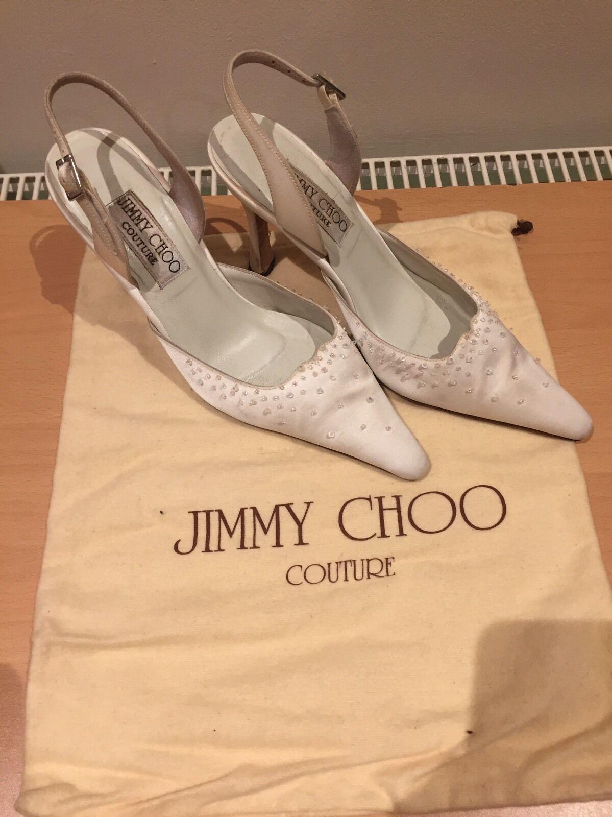 Jimmy Made Choo White Satin Heels, Bridal Hand Made Jimmy Size 35,5 Uk 2,5 103279