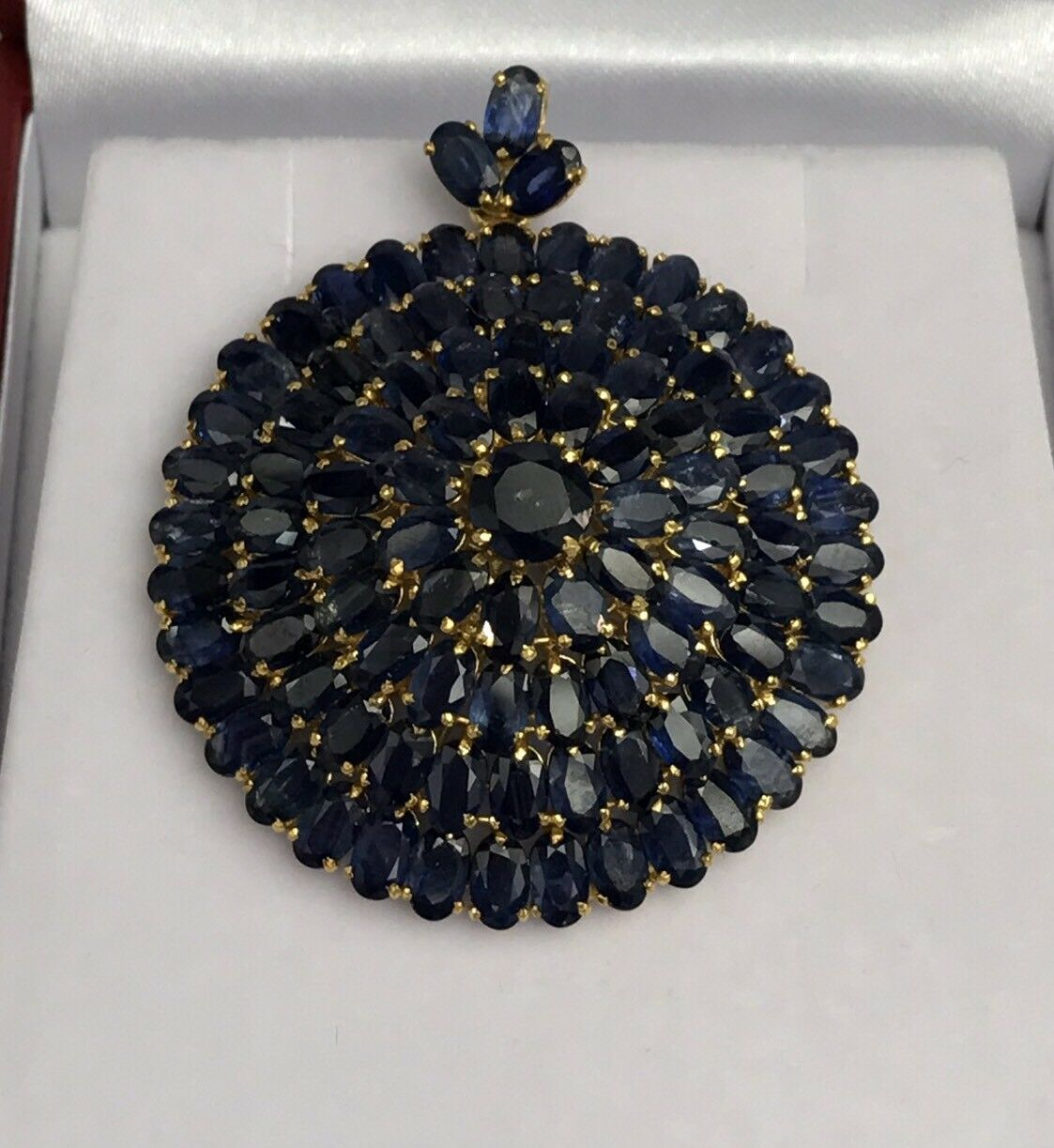 14k Solid Yellow gold Cluster Round Big Pendant, Natural Sapphire 22TCW.