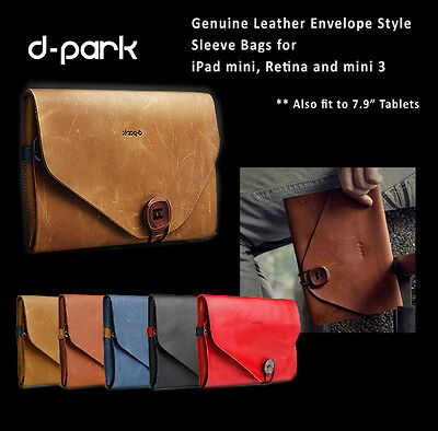 iPad MIni 3 Mini Retina Cowhide Leather Envelope Sleeve Bags Multiple Function