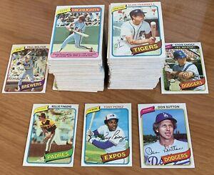 1980 Topps Baseball Card LOT (250+ cards) *Palmer*Fingers HOF **FREE SHIPPING**