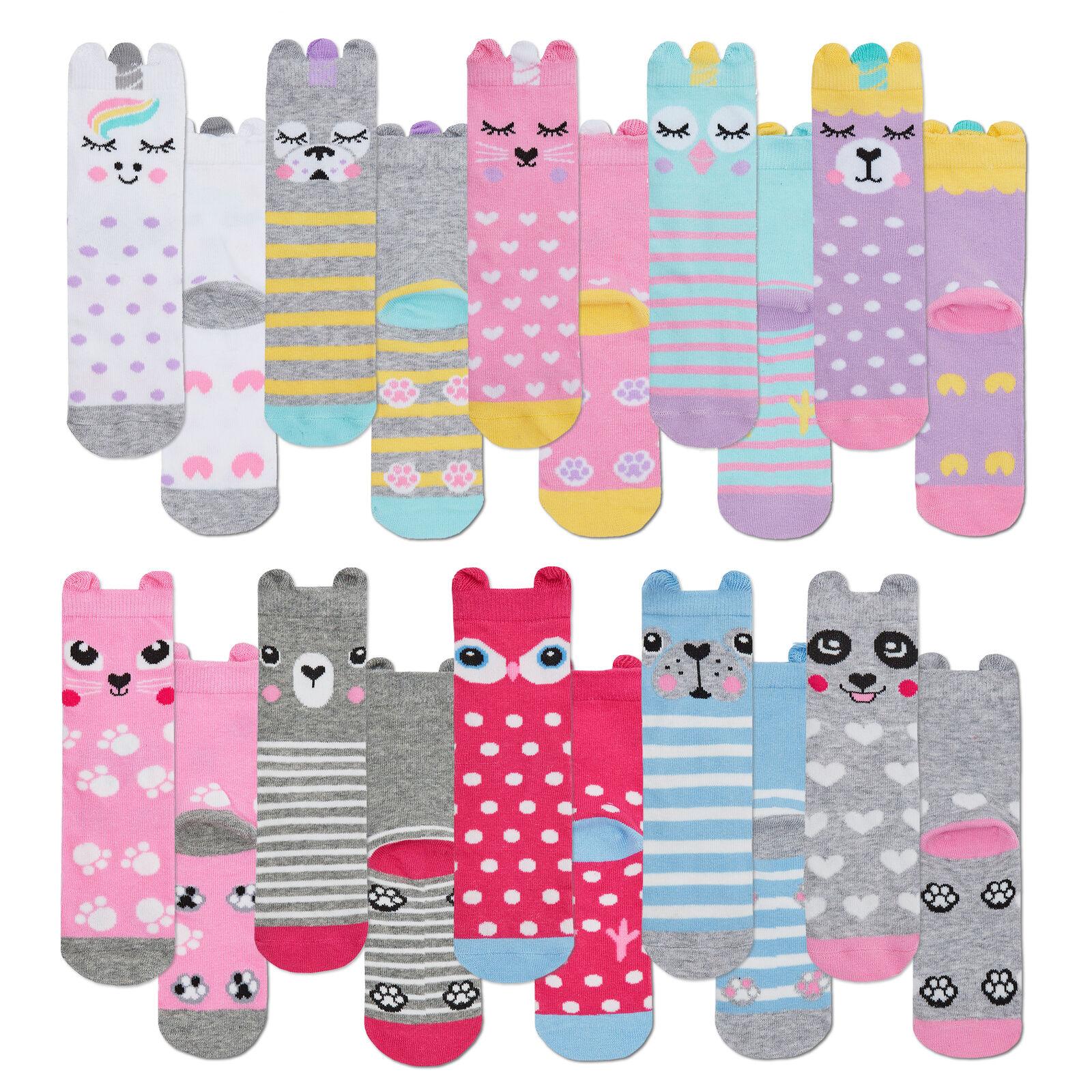 ** 5 10 Pairs Girls Childrens Funny Cool Socks Ears Unicorn Owl Striped Dog Cat