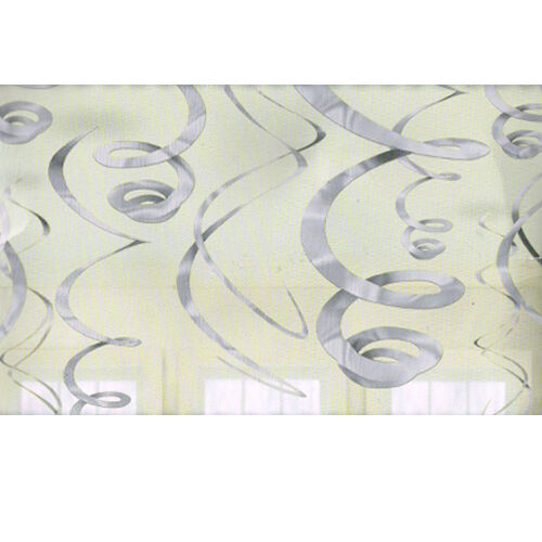 12 SILVER HANGING SWIRL DECORATIONS ~ Wedding Birthday Party Supplies Foil