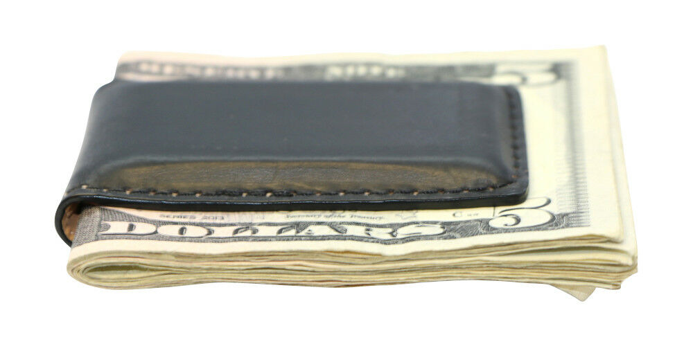 BLACK SHINY LEATHER MAGNETIC MONEY CLIP MADE IN USA