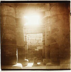 EGYPTE-Temple-Archeologie-ca-1910-Photo-Stereo-Plaque-Verre-PL59OY1