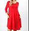 Zanana  Womans  3//4 Sleeve Round Hem A-Line Premium Dress Plus size-1XL-3XL