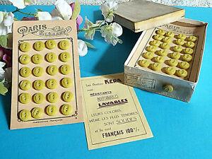 """034c/ Superbe Boite Ancienne De 144 Boutons """" Paris ÉlÉgant """" Jaune Ep. Art DÉco Correspondant En Couleur"""