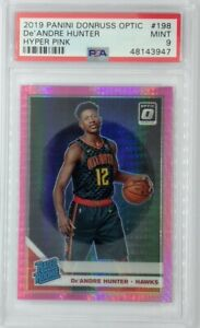 2019 Panini Optic Rated Rookie Hyper Pink De'Andre Hunter RC #198, Graded PSA 9