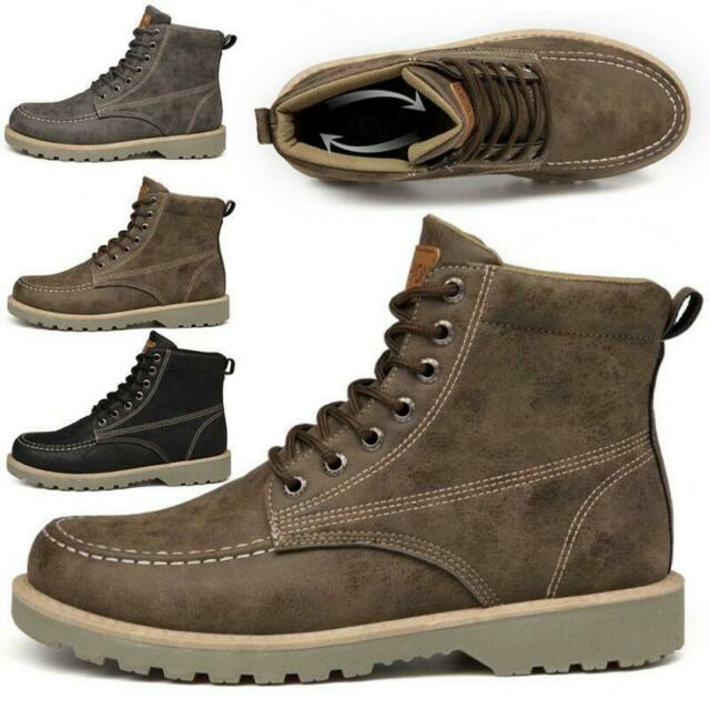Men's Leather Waterproof Work Boots Ankle Casual Non Slip Hiking High Top Shoes