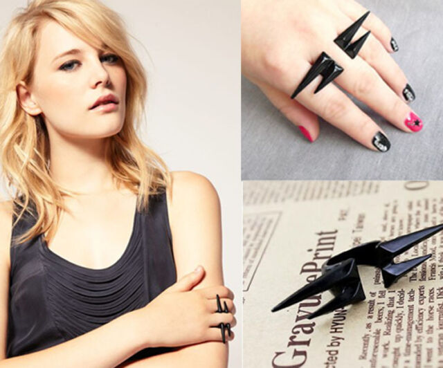 Women Punk Vintage Black Gothic Punk Rivet Puncture Finger Ring Fashion Gift