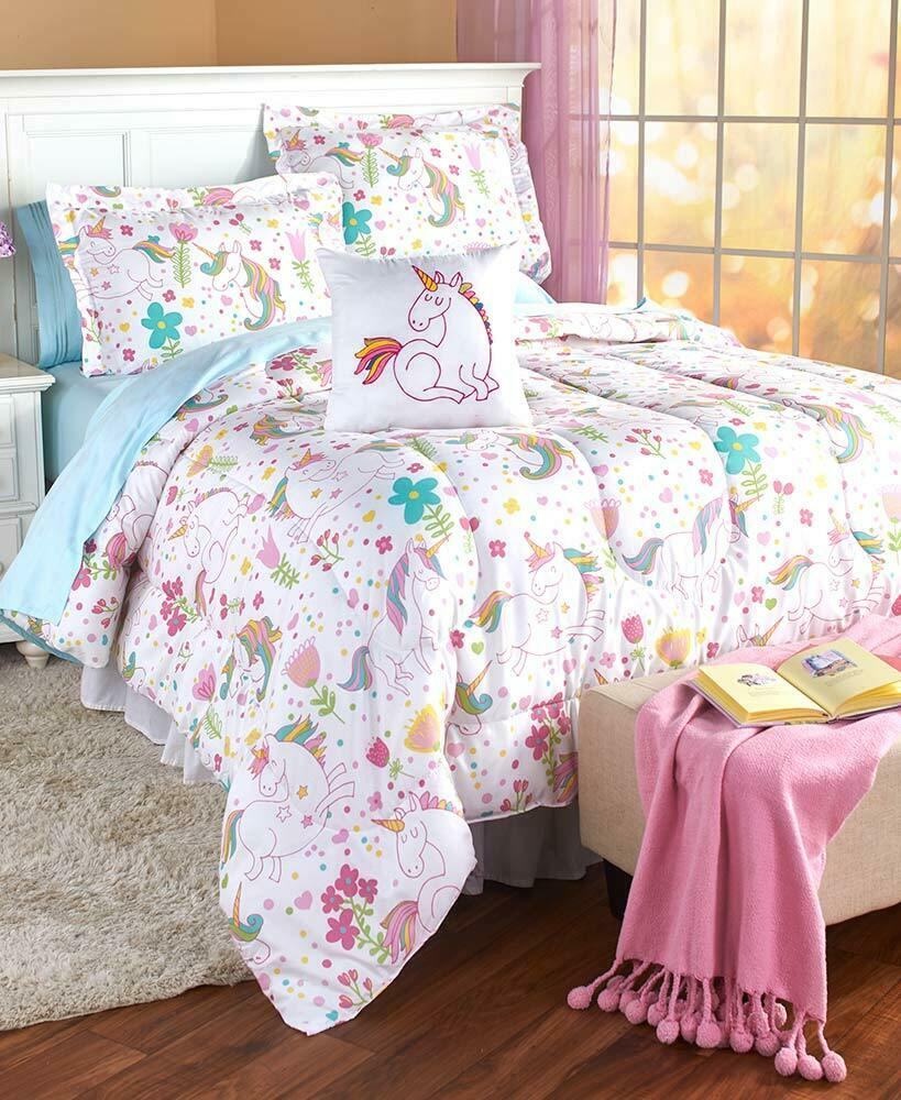 Girls Unicorn Comforter Set 3 Pc. Twin 4 Pc. Full Queen Pillow Bedroom Bedding