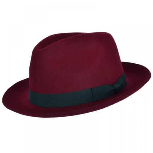 Wine With Ribbon Fedora Gladwin Hat 100 Hand red Trilby Bond Wool Made Black rqCrv7