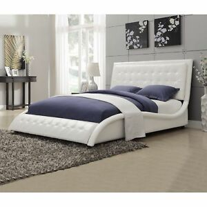 Details about White Modern Queen Size Bed Frame Leather Like Upholstery  Bedroom Furniture New