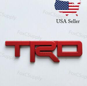 Red Emblem Badge Trunk For Toyota TRD 3D Black Metal Logo 1 x 5 Inch