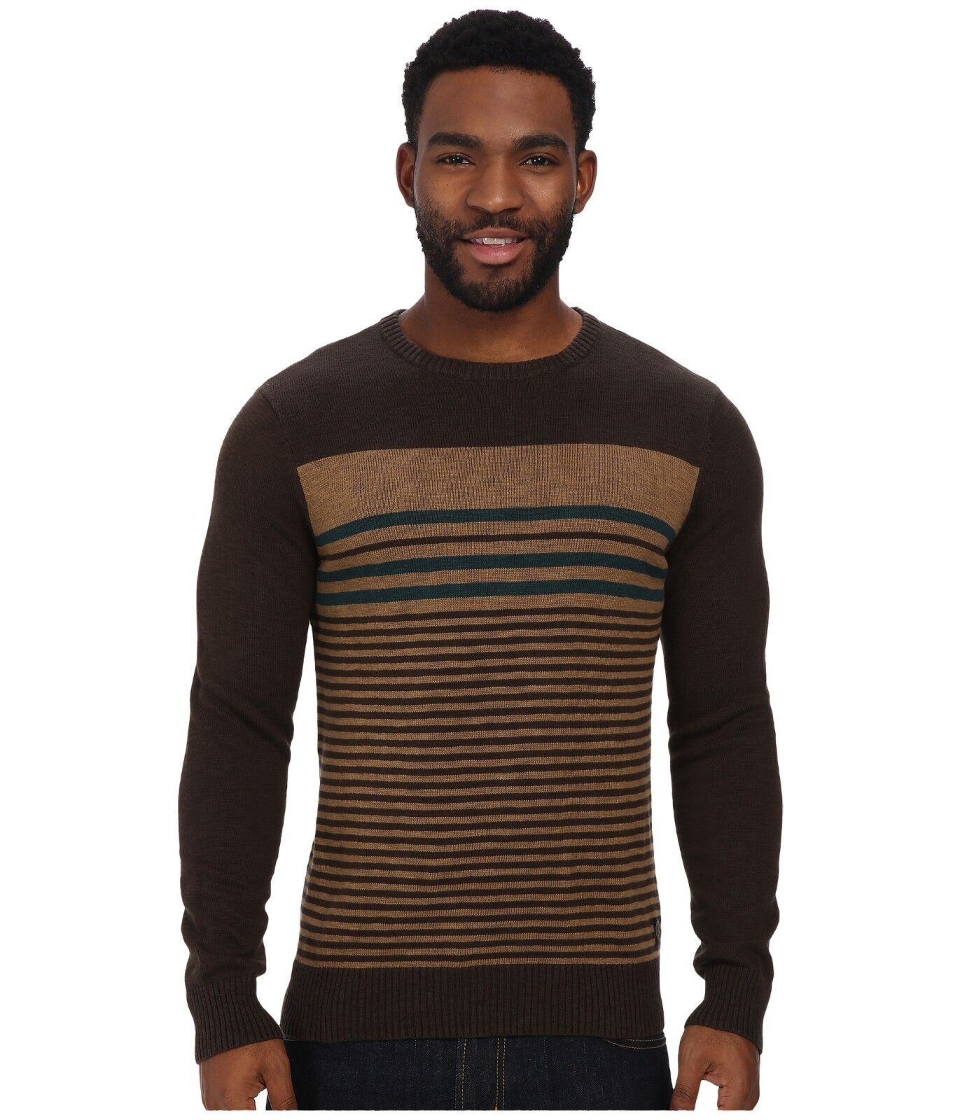 Volcom Men Ether Crew Sweater Bark Brown - Medium
