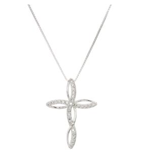Traités White Diamond Accent Infinity Croix collier en laiton Infinity Cross