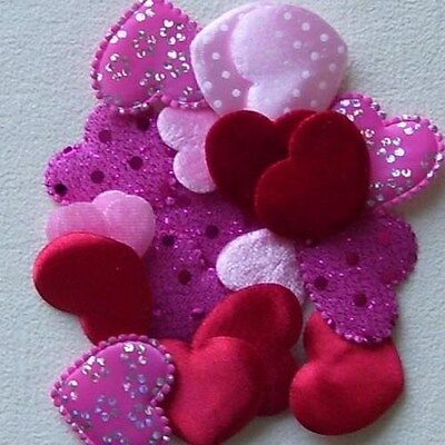 10 or 20 or 22 MIXED HEARTS VARIOUS COLOURS 2.4CM - 3.5CM APPROX