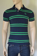 NEW Abercrombie & Fitch Baxter Mountain Polo Shirt Navy Green Stripe S RRP £72