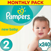 240 Pampers Baby Nappies Monthly Pack - Size 2 Mini 3-6 Kg